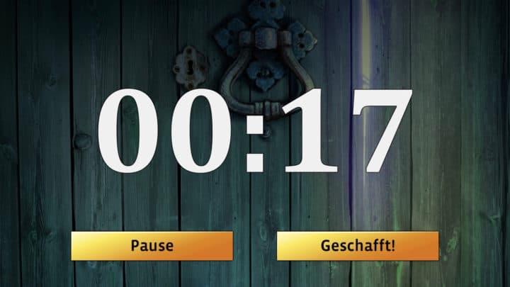 Laufender Timer in der Exit-Spiel App von Kosmos.