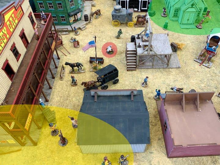 Shootout in Dingstown Aufstellungsphase: Am unteren Bildrand befindet sich die Marvins Aufstellungszone, am oberen Bildrand die von Hanna. In der Mitte der Stadt steht das Missionsziel, der Doktor.