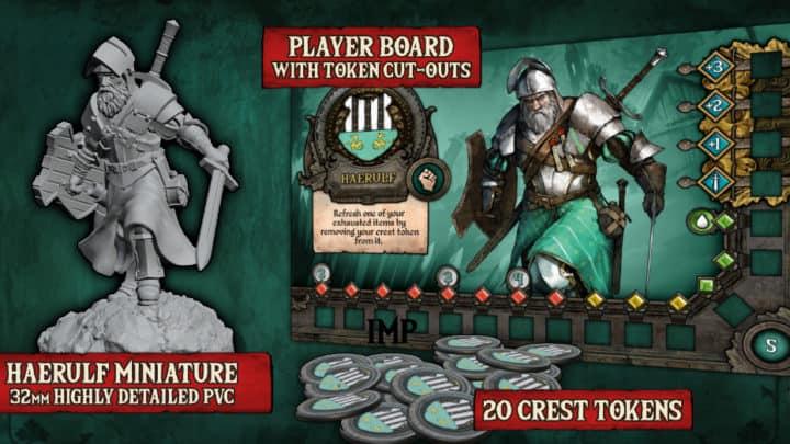 Knight Tales Ritter Miniatur (32mm) mit Charakterkarte und Spielmarkern.