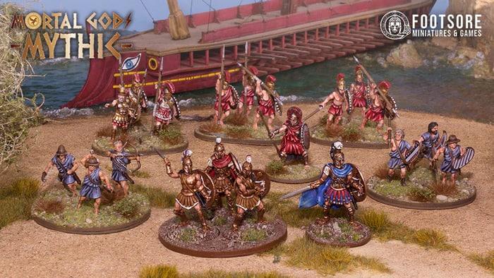 Jason und die Argonauten landen mit einer griechischen Triere. Hopliten, Bogenschützen und Speerwerfer begleiten sie.