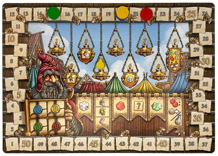 Die Wertung der Quacksalber von Quedlinburg besteht aus mehreren Schritten und wird auf einer bunt verzierten Tafel gezeigt. Hier im Beispiel sieht man die dritte Runde.