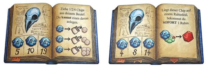 Es sind zwei Rezeptbücher zu sehen. Jedes Buch zeigt andere Effekte für die gleiche Zutat.