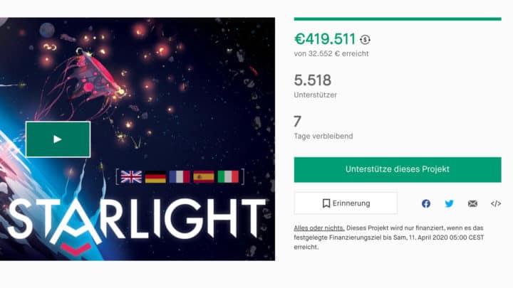 Finanzierungsziel des Brettspiel-Kickstarters Starlight.