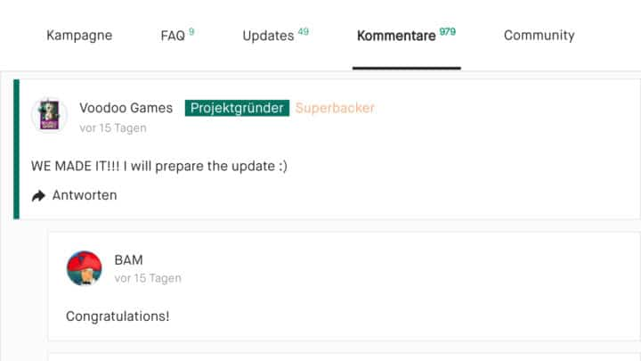 Kommentar eines Gründers bei Kickstarter: 'Wir haben es geschafft! Ich bereite die Update-News vor!'