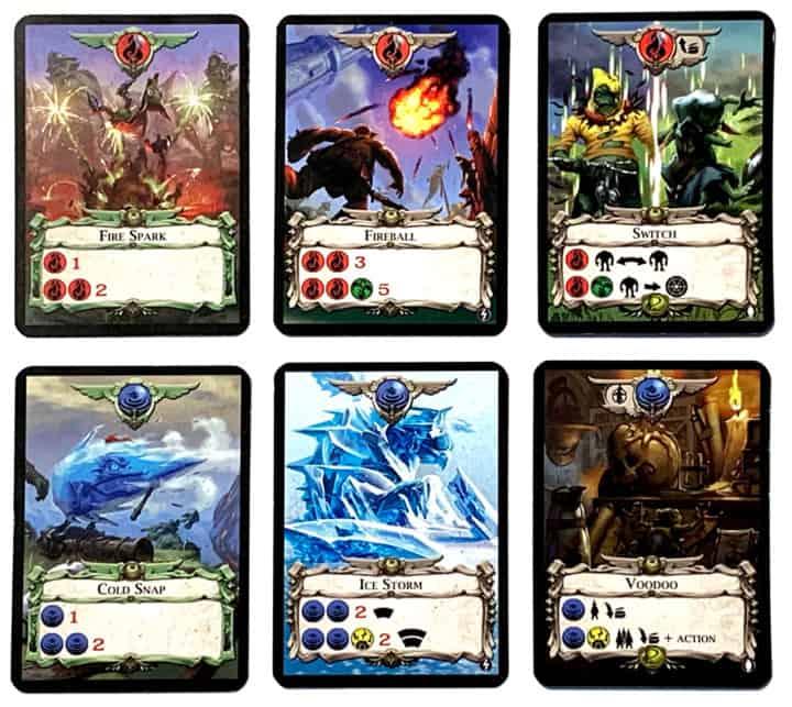 Die Zauberkarten Fire Spark, Fireball, Switch, Cold Snap, Ice Storm und Voodoo.