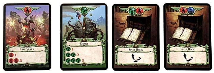 Die Zauberkarten Fire Spark, Smash und zwei Spellbooks.