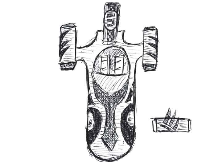 Skizze eines X-34 Landspeeders mit Mustern von Sabine Wrens Rüstung.