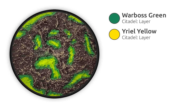 Hellgelbe Highlights aus Warboss Green und Yriel Yellow.