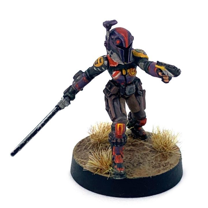Eine bemalte Sabine Wren Figur aus dem Tabletop-Spiel Star Wars: Legion.