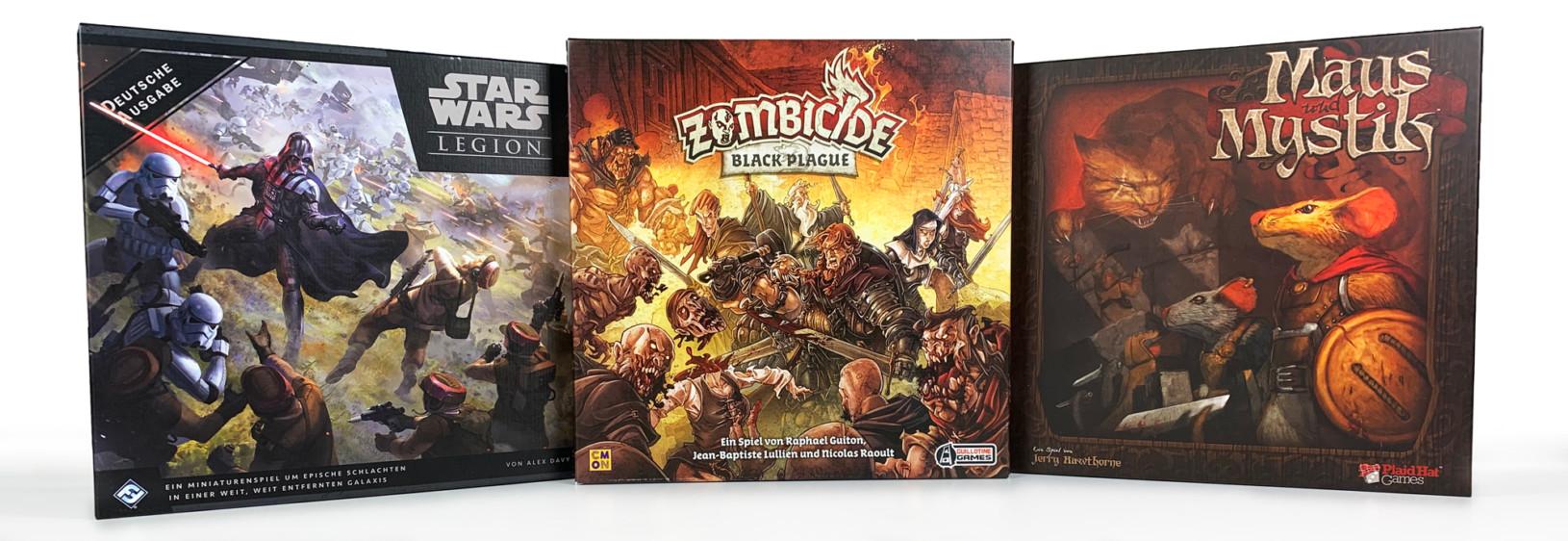 Drei Spiele mit Miniaturen zum Bemalen. 'Star Wars Legion', 'Zombicide Black Plague' und 'Maus und Mystik'.