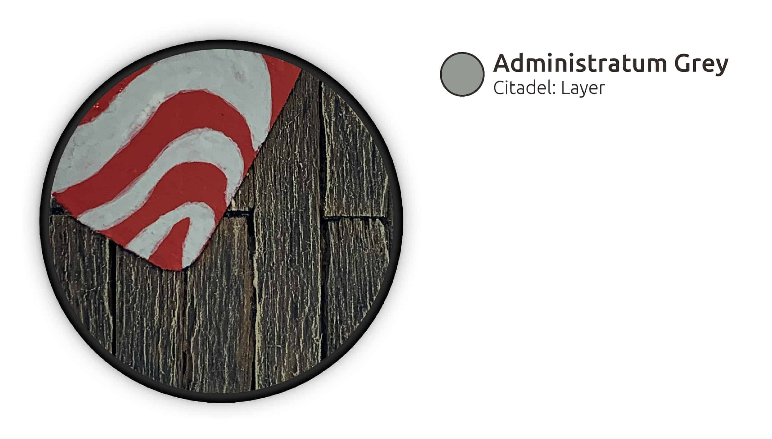 Administratum Grey wird in einem Zebrastreifen-Muster aufgemalt.