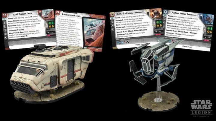 Star Wars Legion A-A5 Speeder Truck Transporter für die Rebellen und ein Legion LAAT Patrouillen Transporter für die Republik und das Imperium