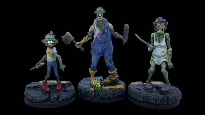 Bemalte Zombies auf Endzeit-Bases.