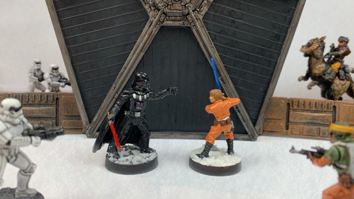 Darth Vader kämpft gegen Luke Skywalker