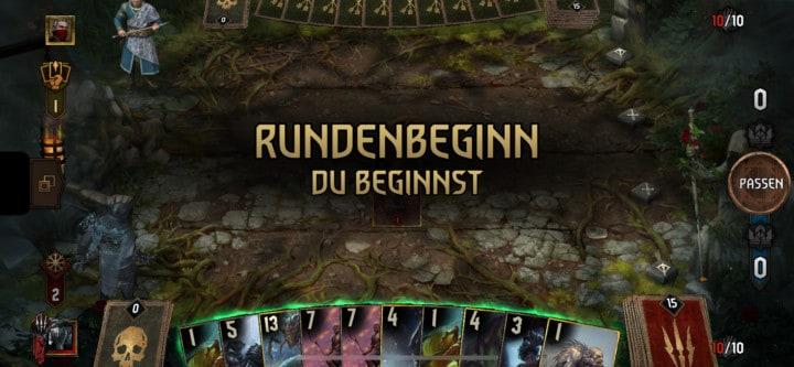 Die erste Gwent-Runde beginnt und ich bin Startspieler.