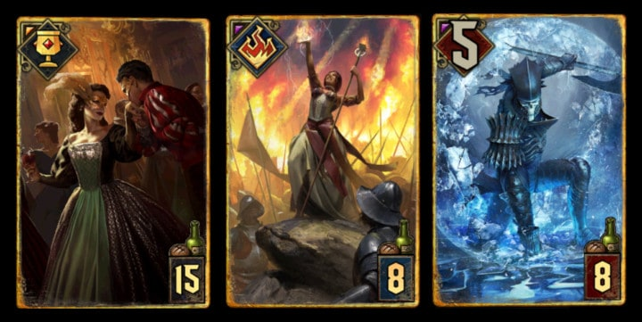 Verschiedene Gwent Spielkarten mit spannenden Illustrationen.