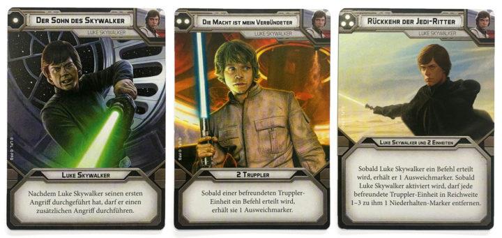 """Drei Star Wars Legion Kommandokarten von Luke Skywalker. """"Sohn des Skywalker"""", """"Die Macht ist mein Verbündeter"""" und """"Rückkehr der Jedi-Ritter""""."""