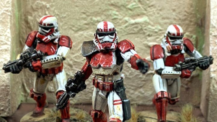Sturmtruppler aus der Star Wars Legion Grundbox, bemalt als Shock Trooper.