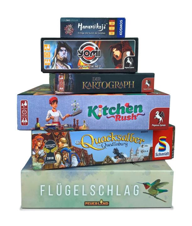 Unsere besten Spiele für 2 Spieler (Auszug): Hanamikoji, Yomi, Der Kartograph, Kitchen Rush, Quacksalber und Flügelschlag.