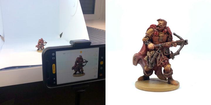 Hohlkehle mit einer gekauften Fotobox zum Fotografieren von Miniaturen.