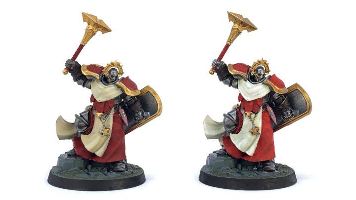 Zwei mit Grundfarben bemalte Age of Sigmar Figuren.