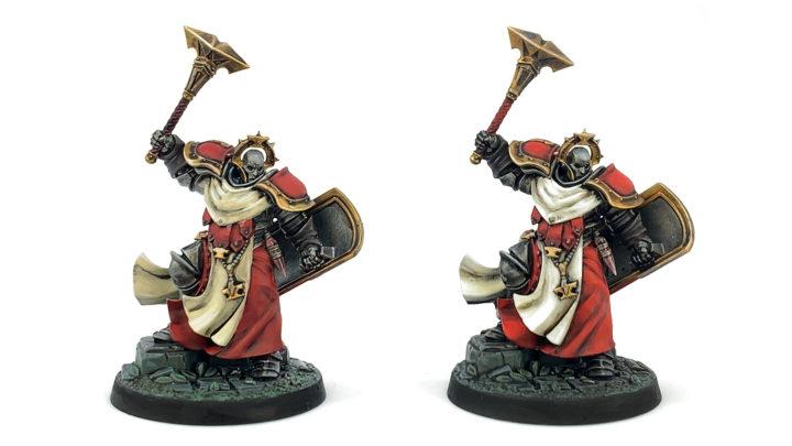 """Unser Ergebnis des Tests """"Farben zum Miniaturen bemalen im Vergleich"""". Links Citadel, rechts Army Painter."""