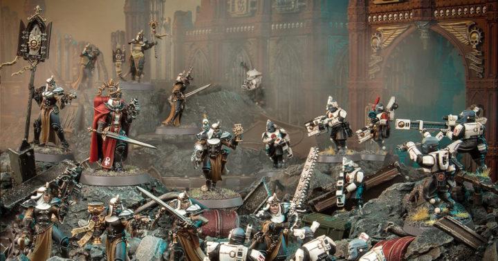 Sisters of Battle kämpfen gegen Tau auf Chalnath. Gen Con Reveal Bild von Warhammer Community.