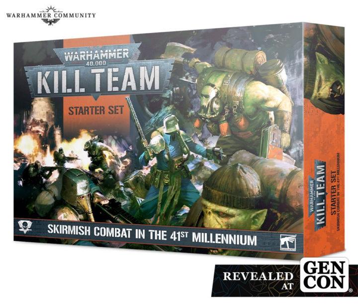Ein Warhammer Kill Team Starterset mit den Fraktionen Orks und Astra Militarum.